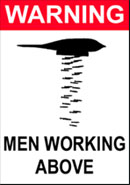 "thumbnail of ""WARNING: Men Working Above"" t-shirt (graphic of stealth bomber bombing)"